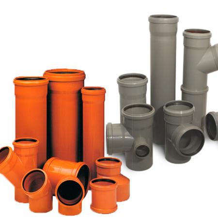 серые и коричневые трубы пвх для канализации
