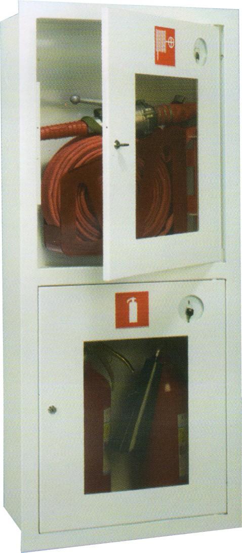 ШПК-320 встроенный открытый белый  для   пожарного  крана и двух огнетушителей (с окном)